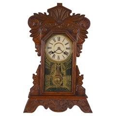 Antique Victorian New Haven Camden Gingerbread Oak Mantel Clock