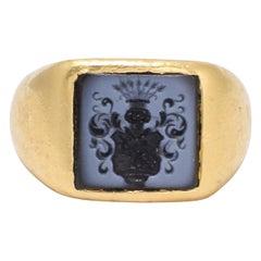 Antique Victorian Nicolo Coat of Arms Intaglio Signet Ring