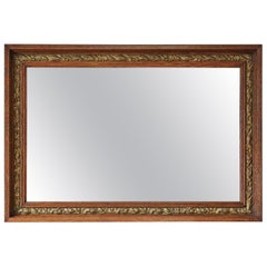 Antique Victorian Oak and Gilt Overmantle or Wall Mirror, circa 1900