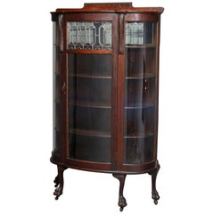 Antique Victorian Oak and Leaded Glass China Cabinet with Paw Feet, circa 1890