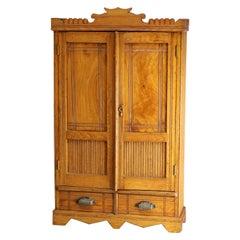Antique Victorian Oak Bead Board Medicine Wall Cabinet, circa 1900