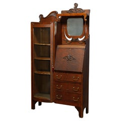 Antique Victorian Oak Horner School Side by Side Secretary Bookcase, Circa 1900