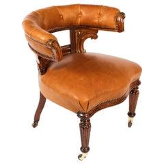 Antique Victorian Oak & Leather Desk Chair Tub Chair, 19th Century