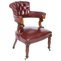 Antique Victorian Oak Leather Desk Chair Tub Chair 19th Century