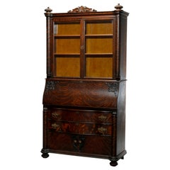 Antique Victorian Oak RJ Horner School Secretary Desk, Circa 1920