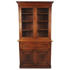 Antique Victorian Oak Secretaire Bookcase, Desk, Bookcase, Scotland 1890, B1817
