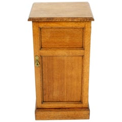 Antique Victorian Oak Single Door Nightstand, End Table, Scotland 1880