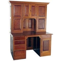 Antique Victorian Oak & Walnut Secretary Desk with Bookcase, circa 1900