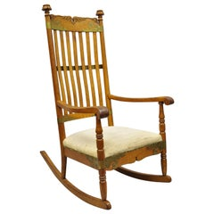 Antique Victorian Oakwood Arts & Crafts Rocker Rocking Chair w/ Brass Accents