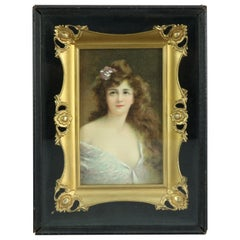 Antique Victorian Oil on Canvas Portrait of Woman in Shadow Box by Asti, C 1890