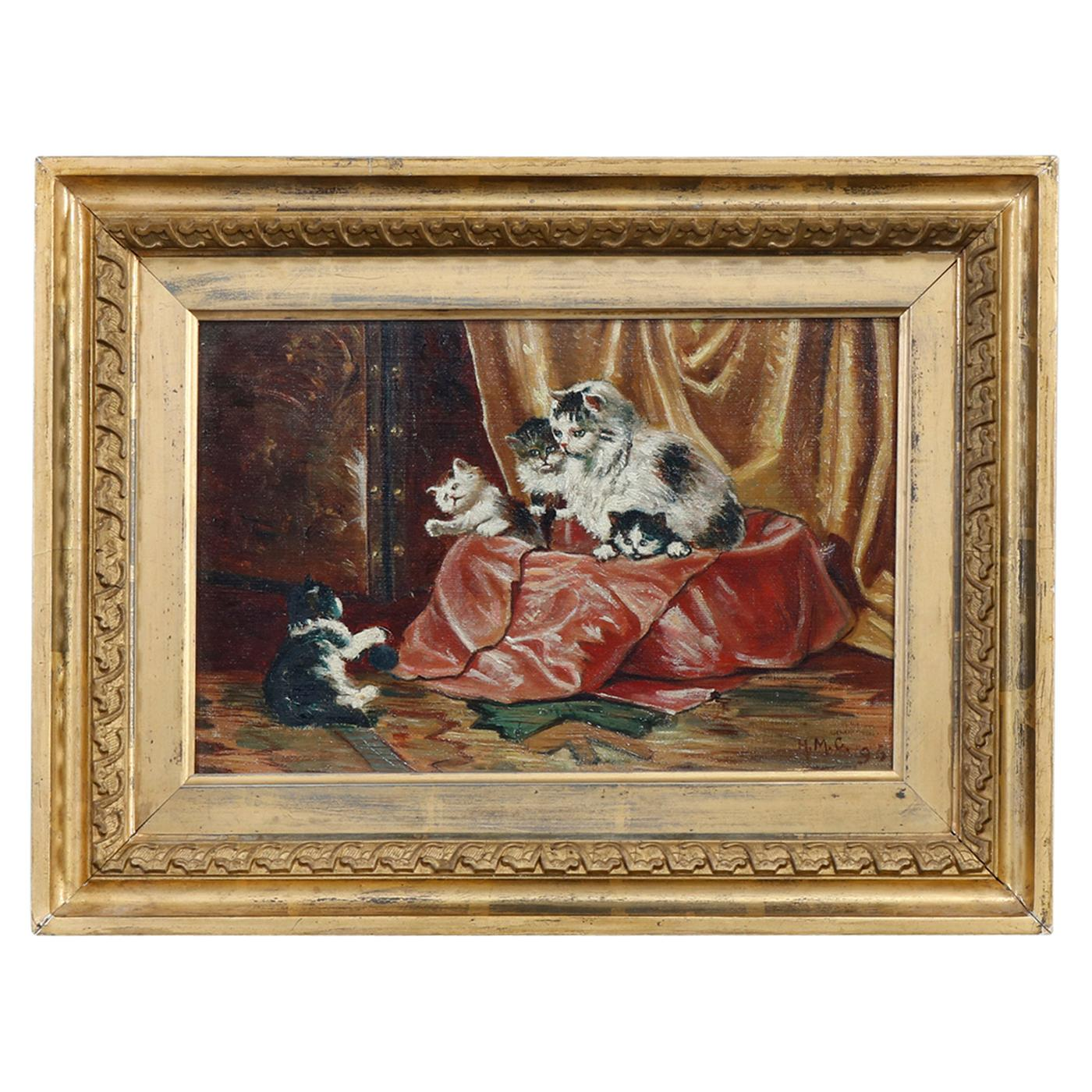 Antique Victorian Oil Painting Interior Scene with Kittens Playing, circa 1890