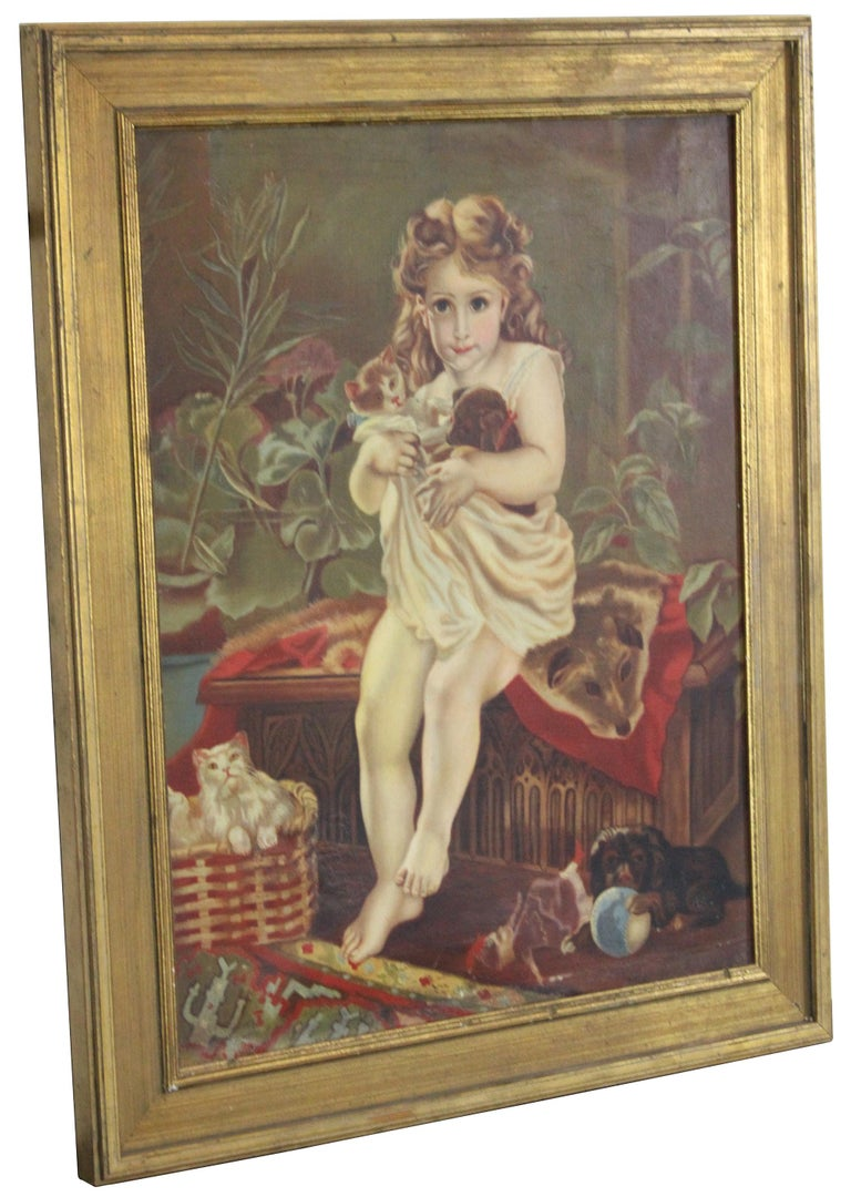 Antique late Victorian oil on canvas, unsigned. Features a girl seated on a Gothic chest with animal hide loosely covered while holding her kitty and new puppy. Intricately detailed with a cat in a basket, dog playing with ball, doll along the