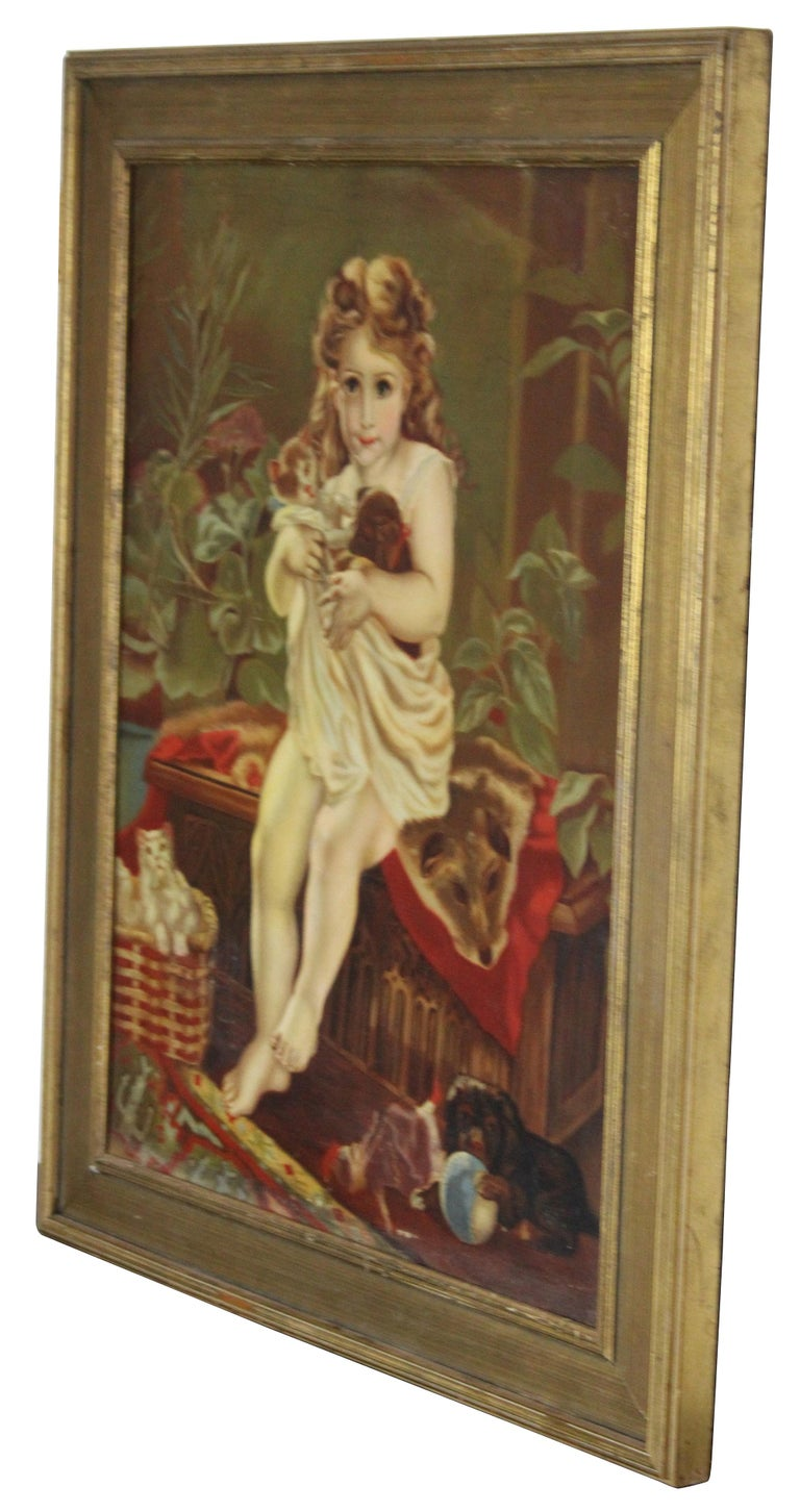 Late Victorian Antique Victorian Oil Portrait Painting of a Young Girl with Cats Dogs For Sale