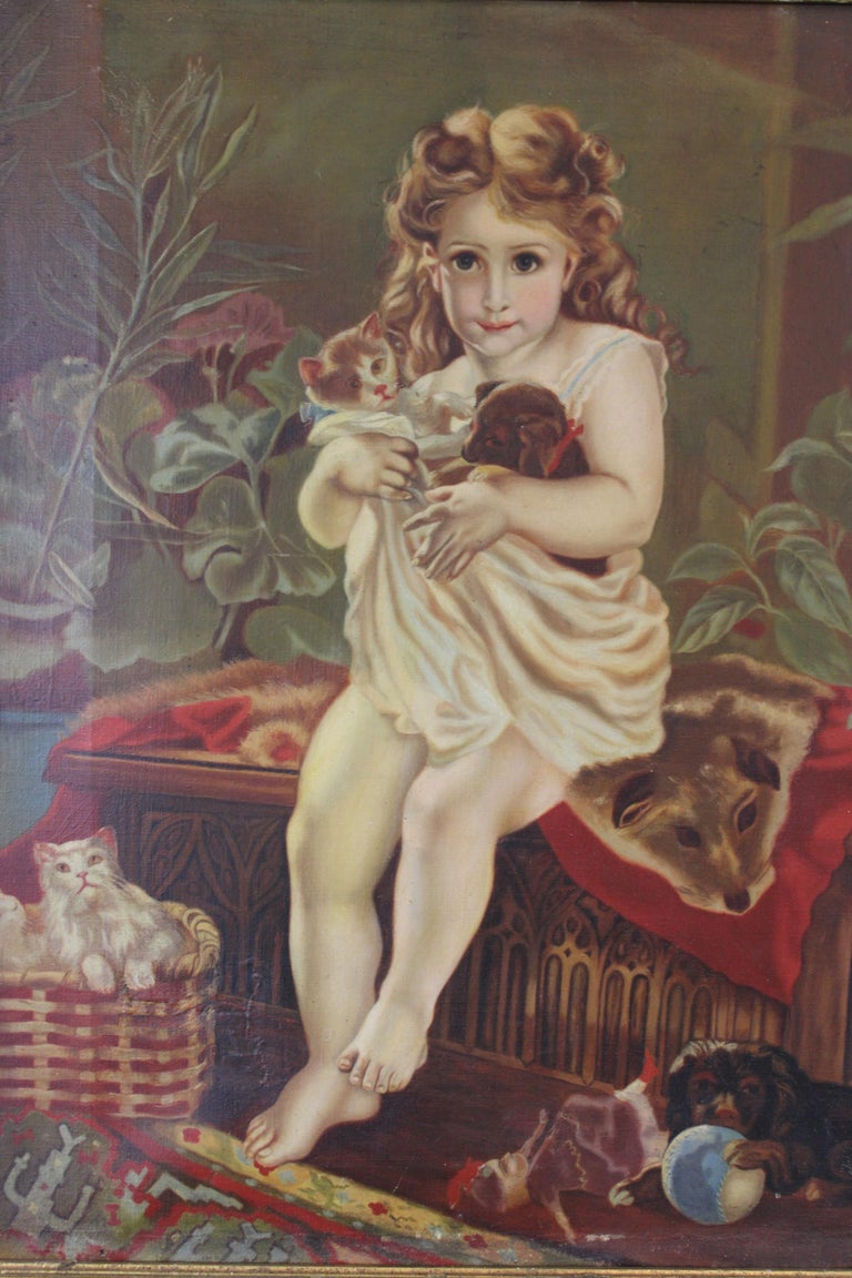 Antique Victorian Oil Portrait Painting of a Young Girl with Cats Dogs In Good Condition For Sale In Dayton, OH