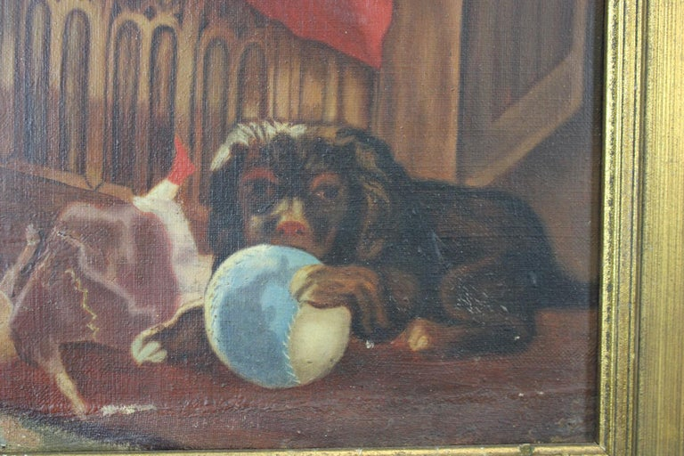 19th Century Antique Victorian Oil Portrait Painting of a Young Girl with Cats Dogs For Sale
