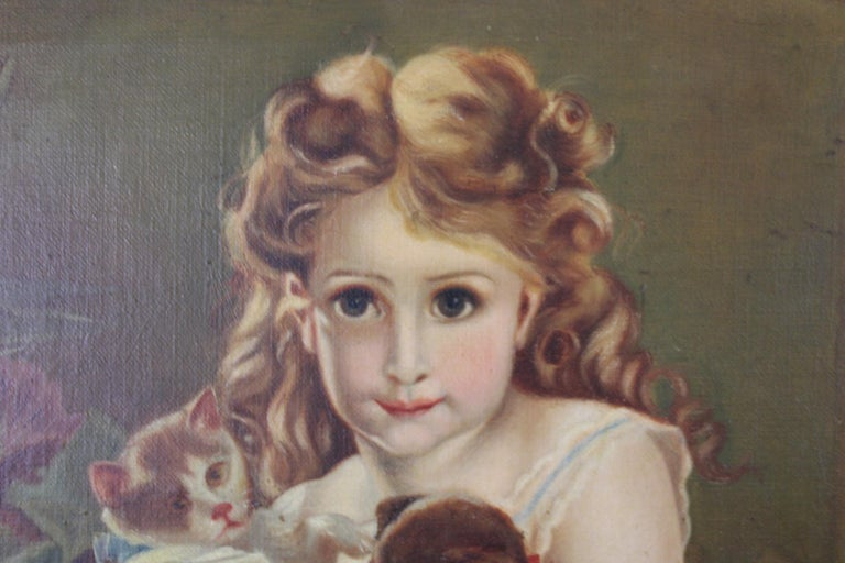Antique Victorian Oil Portrait Painting of a Young Girl with Cats Dogs For Sale 2