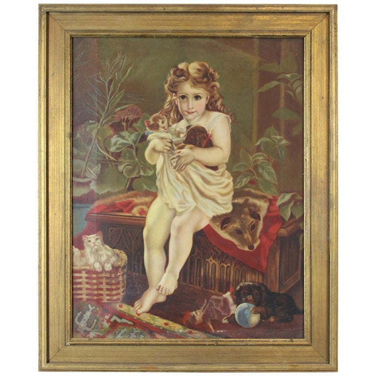 Antique Victorian Oil Portrait Painting of a Young Girl with Cats Dogs For Sale