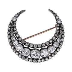 Antique Victorian Old Cut Diamond Crescent Brooch