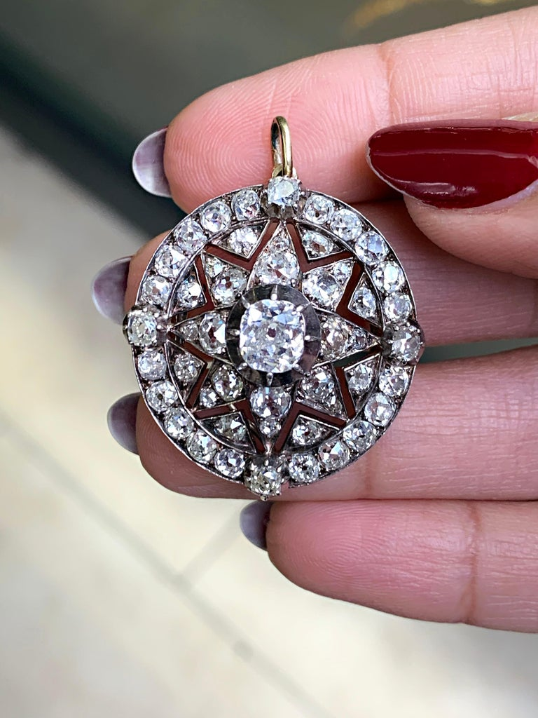 Antique Victorian Old Cut Diamond Silver on Gold Bracelet and Pendant, 1866 For Sale 6