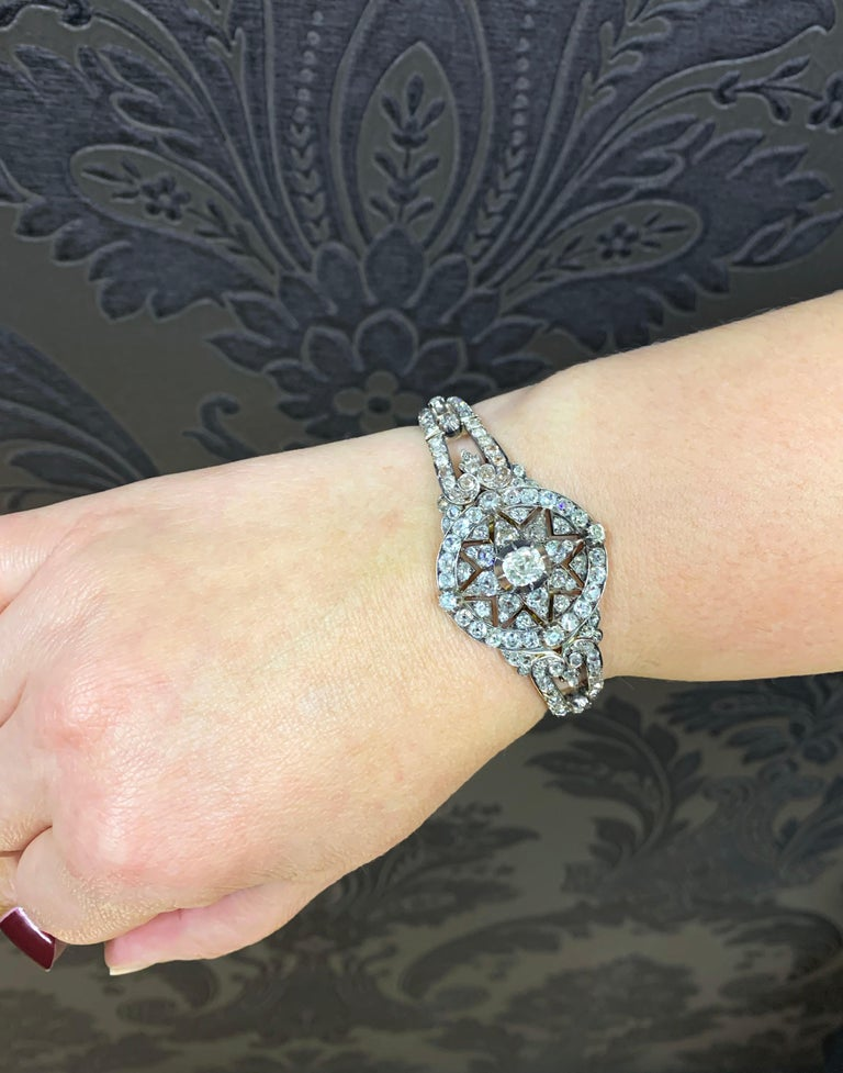Antique Victorian Old Cut Diamond Silver on Gold Bracelet and Pendant, 1866 For Sale 7