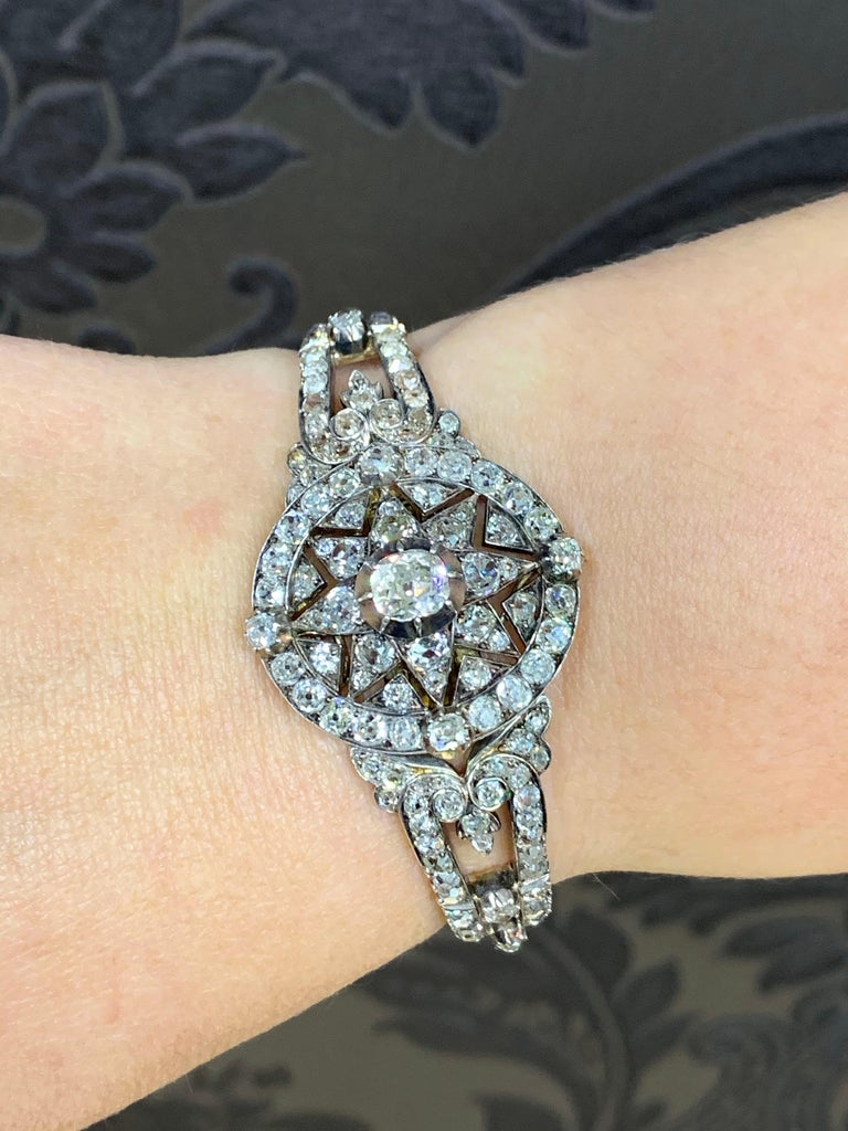 Antique Victorian Old Cut Diamond Silver on Gold Bracelet and Pendant, 1866 For Sale 8