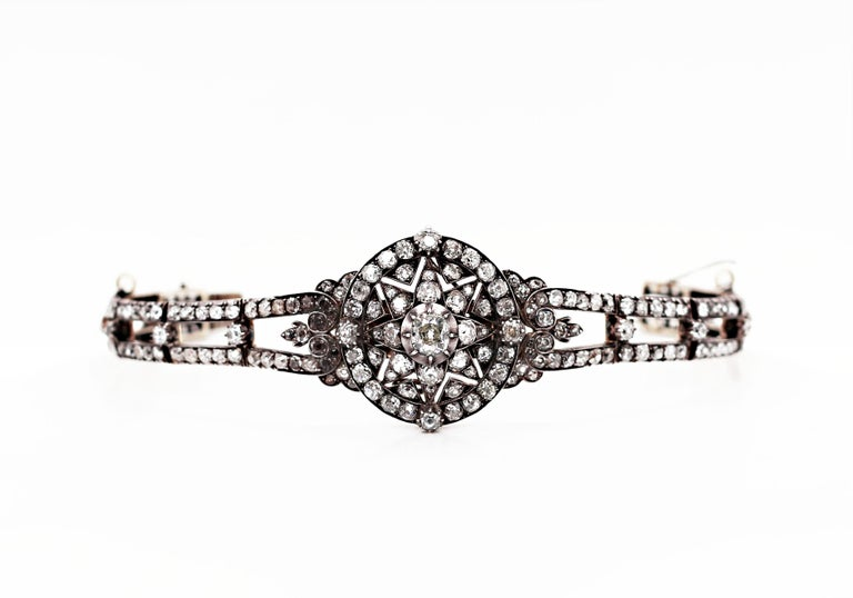Antique Victorian Old Cut Diamond Silver on Gold Bracelet and Pendant, 1866 In Good Condition For Sale In London, GB