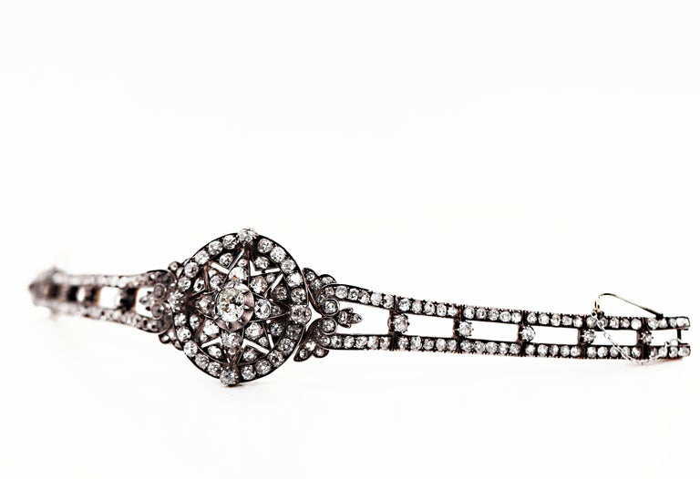 Women's Antique Victorian Old Cut Diamond Silver on Gold Bracelet and Pendant, 1866 For Sale