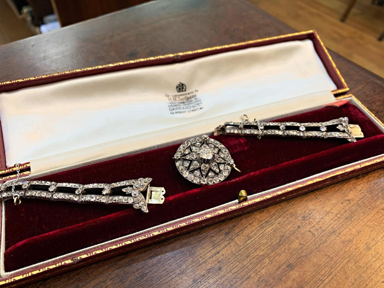 Antique Victorian Old Cut Diamond Silver on Gold Bracelet and Pendant, 1866 For Sale 4