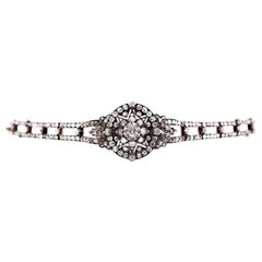 Antique Victorian Old Cut Diamond Silver on Gold Bracelet and Pendant, 1866