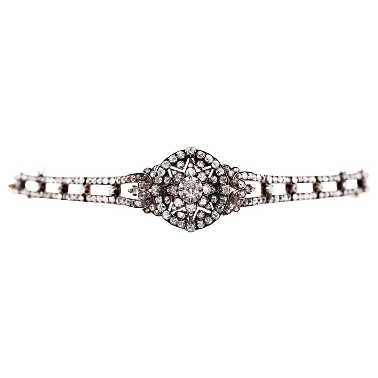 Antique Victorian Old Cut Diamond Silver on Gold Bracelet and Pendant, 1866 For Sale