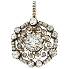 Antique Royal Victorian Old European & Rose Diamond Circular Snowflake Pendant