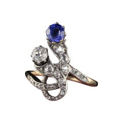Antique Victorian Old Mine Cut Diamond and Sapphire Ring