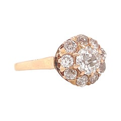 Antique Victorian Old Mine Cut Diamond Gold Cluster Ring
