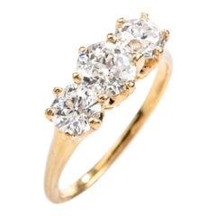 Antique Victorian Old Mine Diamond 3-Stone 18 Karat Engagement Wedding Ring