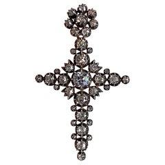 Antique Victorian Old Mine Diamond Cross Pendant Silver Gold Portuguese c. 1880