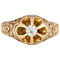 Antique Victorian Old Mine Diamond Ring Flower Tulip Setting 14 Karat Gold
