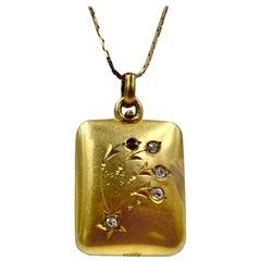 Antique Victorian Old Mine Diamond Ruby Locket Pendant 14 Karat Gold Star Flower