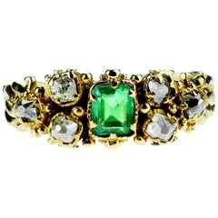 Antique Victorian Old Square Cut Diamond and Emerald Ring in 18 Karat Gold