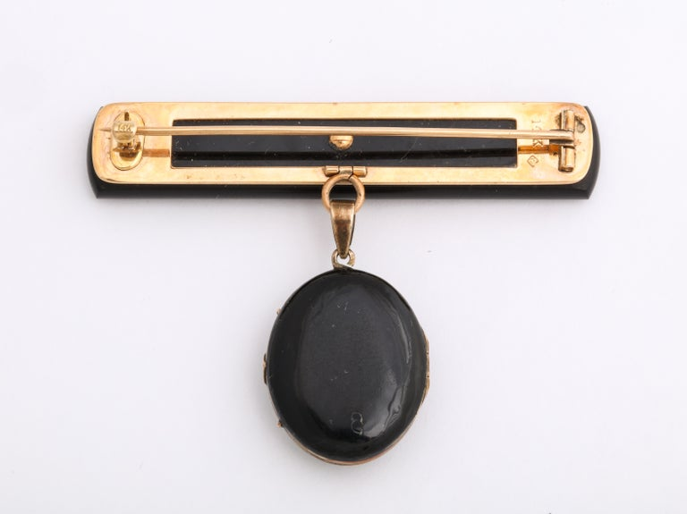 Antique Victorian Onyx, Enamel, Natural Pearl Mourning Brooch and Locket For Sale 2
