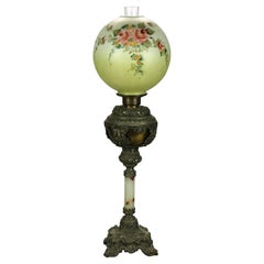Antique Victorian Onyx & Gilt Metal Parlor Lamp with Hand Painted Globe, c1890