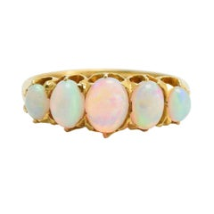 Antique Victorian Opal Five-Stone Gold Ring