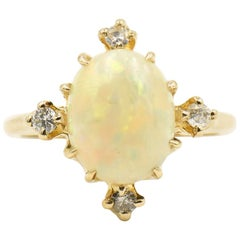 Antique Victorian Opal and Diamond Yellow Gold Ring