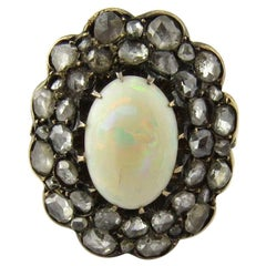 Antique Victorian Opal and Rose Cut Diamond 14 Karat Yellow Gold Ring