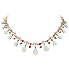 Antique Victorian Opal and Ruby Necklace, circa 1890s
