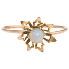 Antique Victorian Opal Conversion Ring Flower 10 Karat Yellow Gold Vintage