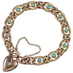 Antique Victorian Opal Curb Bracelet 9 Carat Gold Heart Padlock, circa 1900