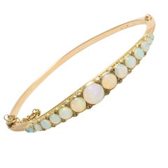 Antique Victorian Opal Diamond Gold Bangle