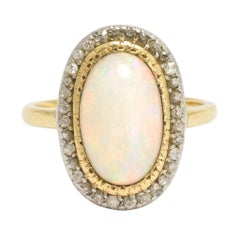 Antique Victorian Opal Diamond Halo Cluster Ring