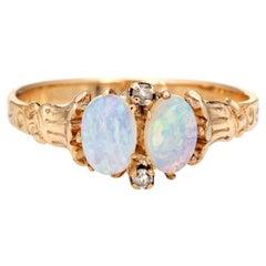 Antique Victorian Opal Diamond Ring Two-Stone 10 Karat Gold Vintage Jewelry