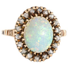 Antique Victorian Opal Diamond Ring Vintage 10 Karat Gold Oval Fine Jewelry